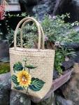 Túi xách cỏ bàng vẽ hướng dương (30cm x 45cm)