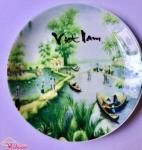 Đĩa Gốm Sứ In Làng Quê Việt Nam